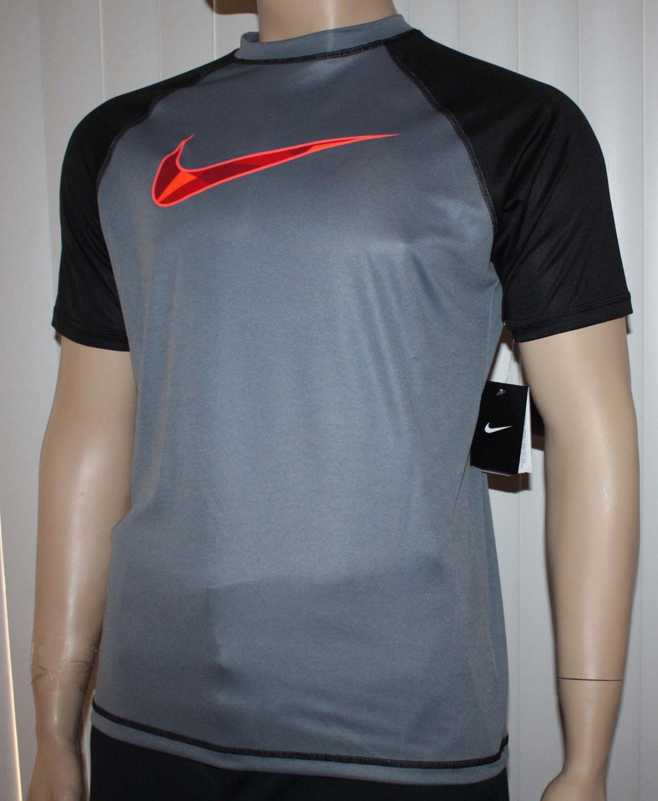 Nike Men's Dri-Fit Gray/Black Checked Swoosh UPF 40 + Shirt -Small 11047