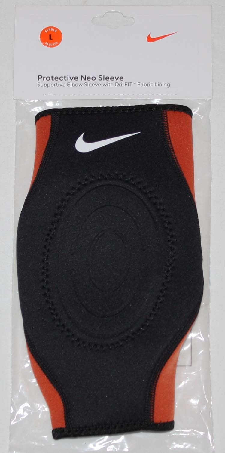 Nike Unisex Dri-Fit Black/Orange Protective Supportive Neo Elbow Sleeve (Large) 11281