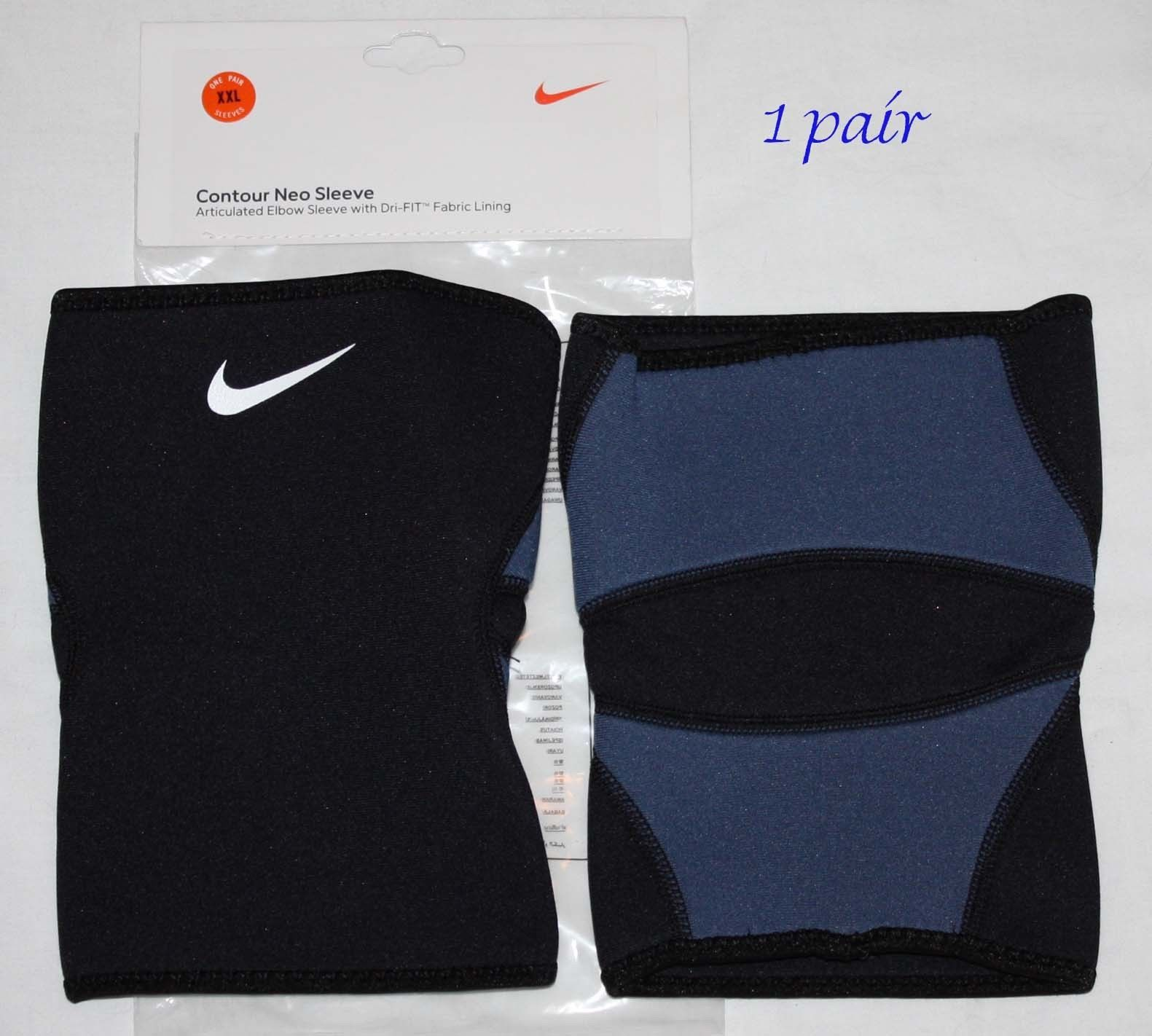 1 Pair Nike Dri-Fit Black/Blue Articulated Contour Neo Elbow Sleeve (XX-Large) 11282