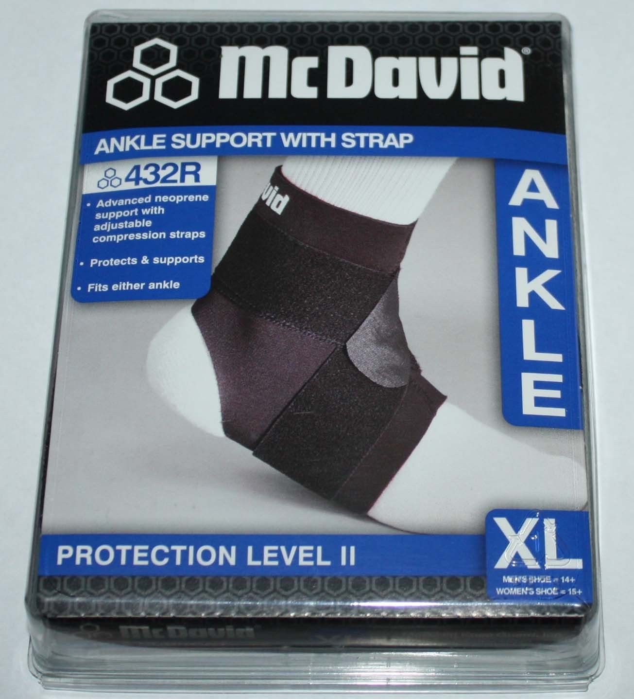 McDavid Protection Level 11 Black Ankle Support With Strap 432R (X-Large) 11351