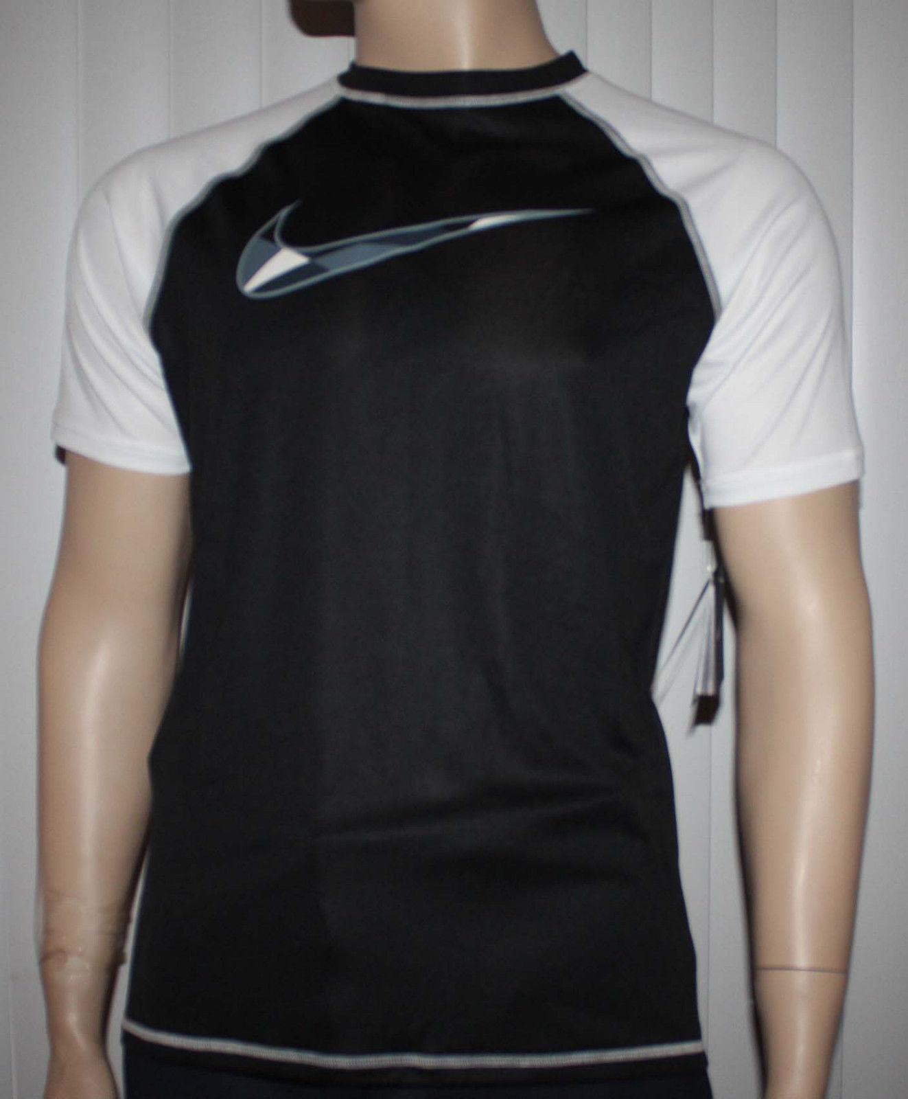 Nike Men's Dri-Fit Black/White Checked Swoosh UPF 40 + Shirt (Large) 11390
