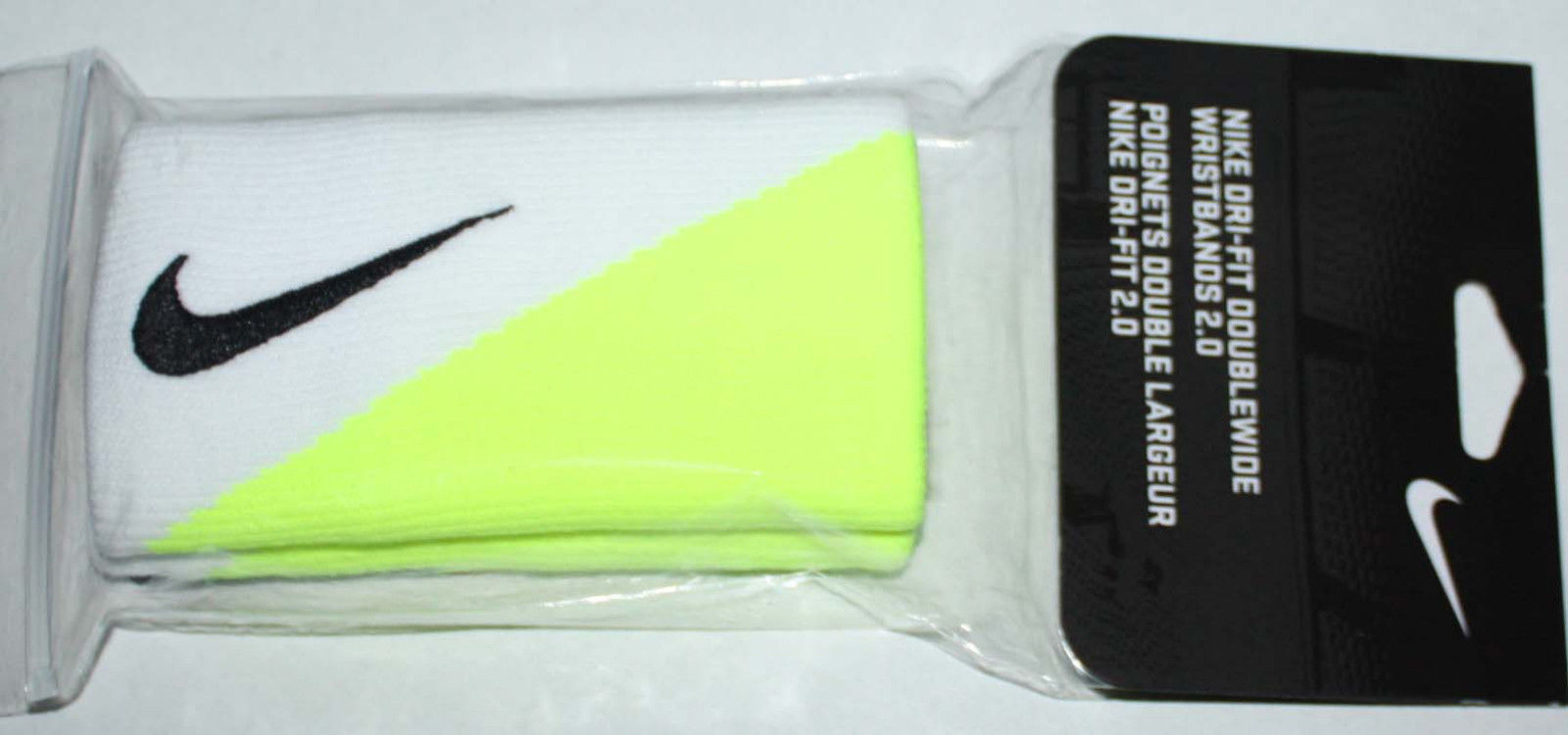 Nike 2.0 Dri-Fit Double-Wide Two-Tone Wristbands White/Volt/Black Swoosh 11483