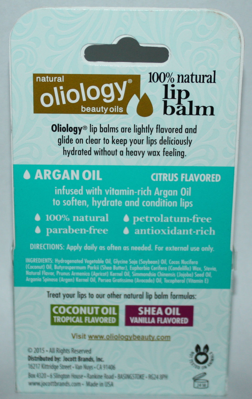 3 Pack Oliology 100% Natural Lip Balm Info on back