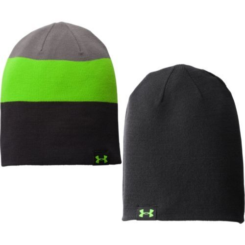 Under Armour Men's Four-In-One Stripe Beanie Black/Graphite/Gecko Green (One Size) 11595