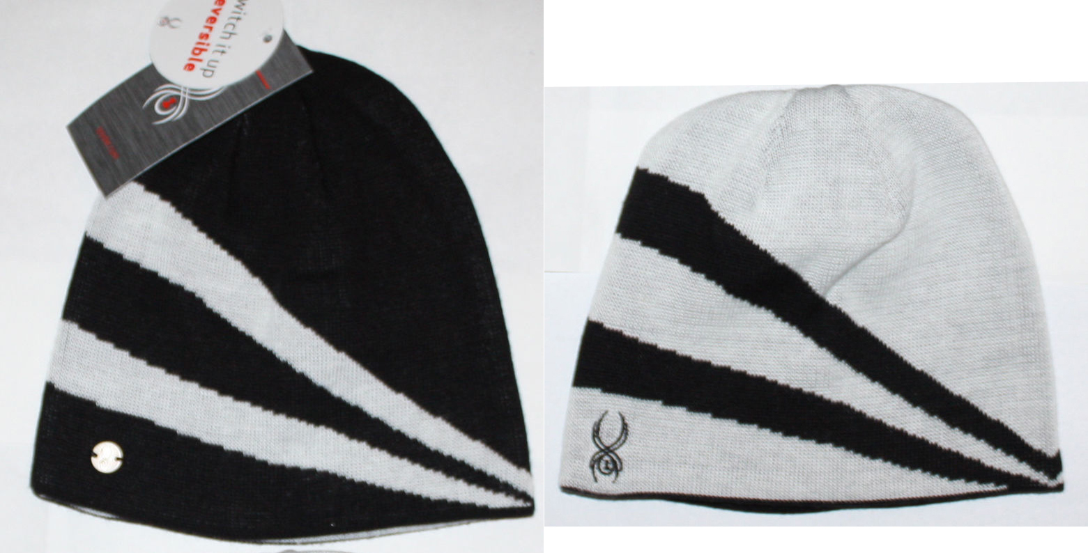 Spyder Switch It Up Women's Black/White Jacquard Stripe Reversible Beanie (One Size) 11772