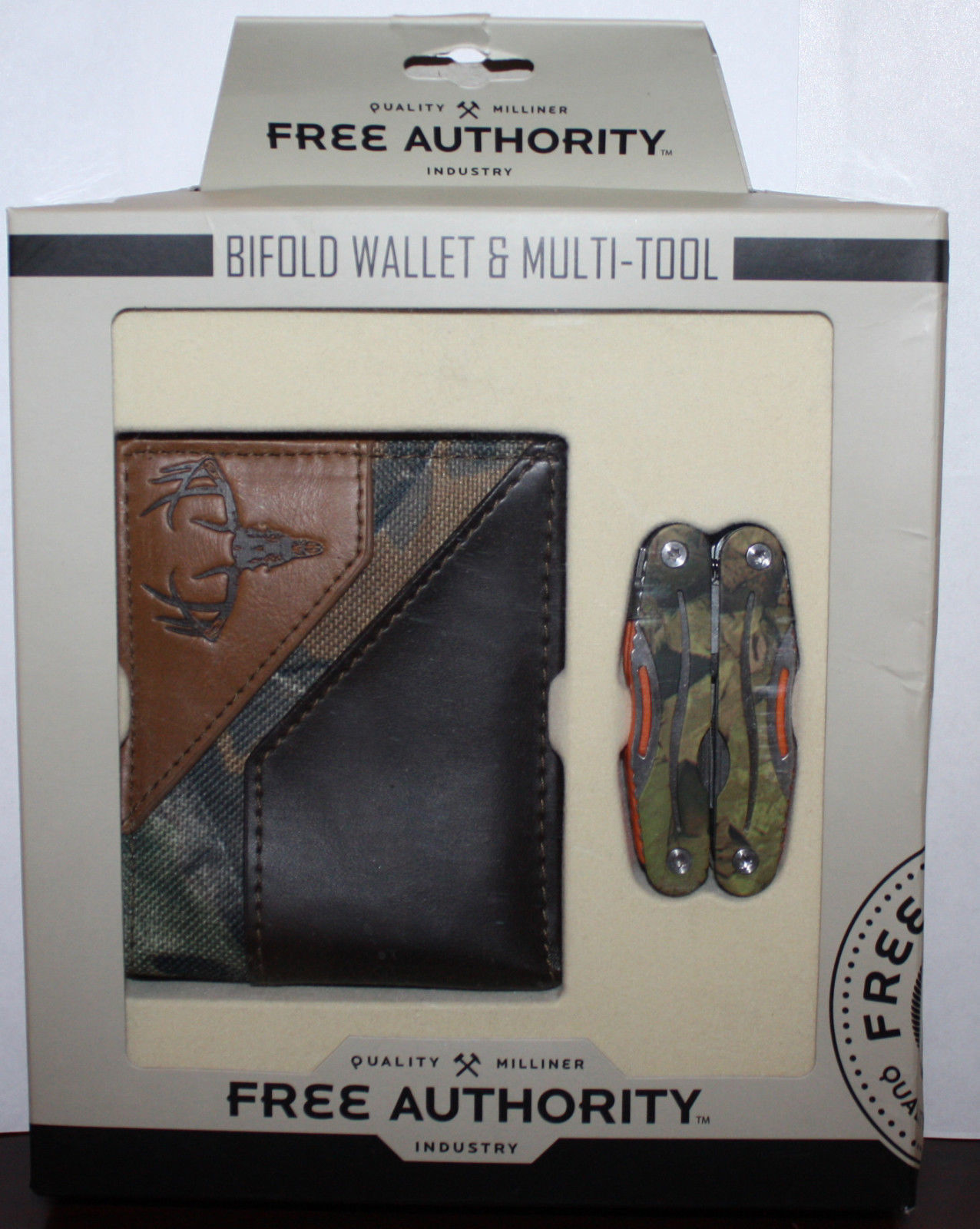 Free Authority Brown/Camo Print Bifold Wallet & Multi-Tool Set 12135
