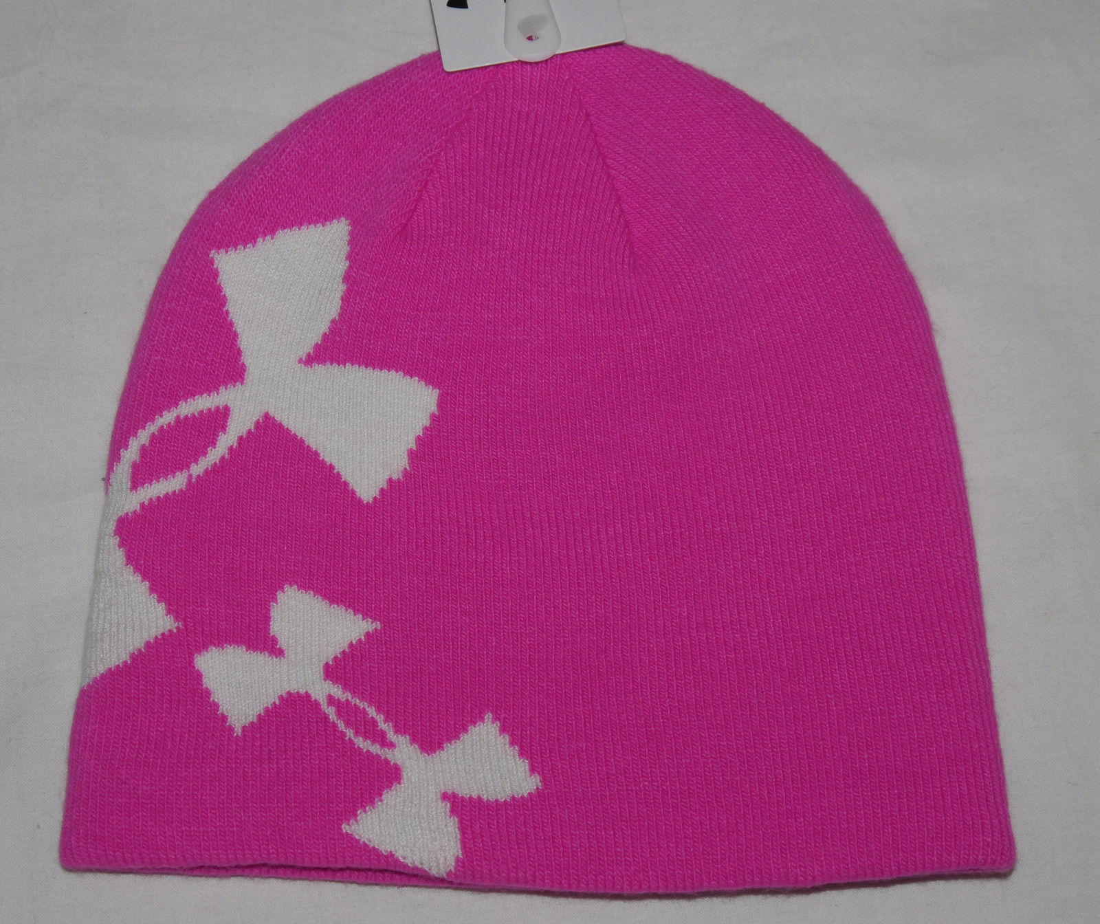 Under Armour Youth Girl's Rebel Pink/White Reversible to Gray/Black Beanie Hat 12551