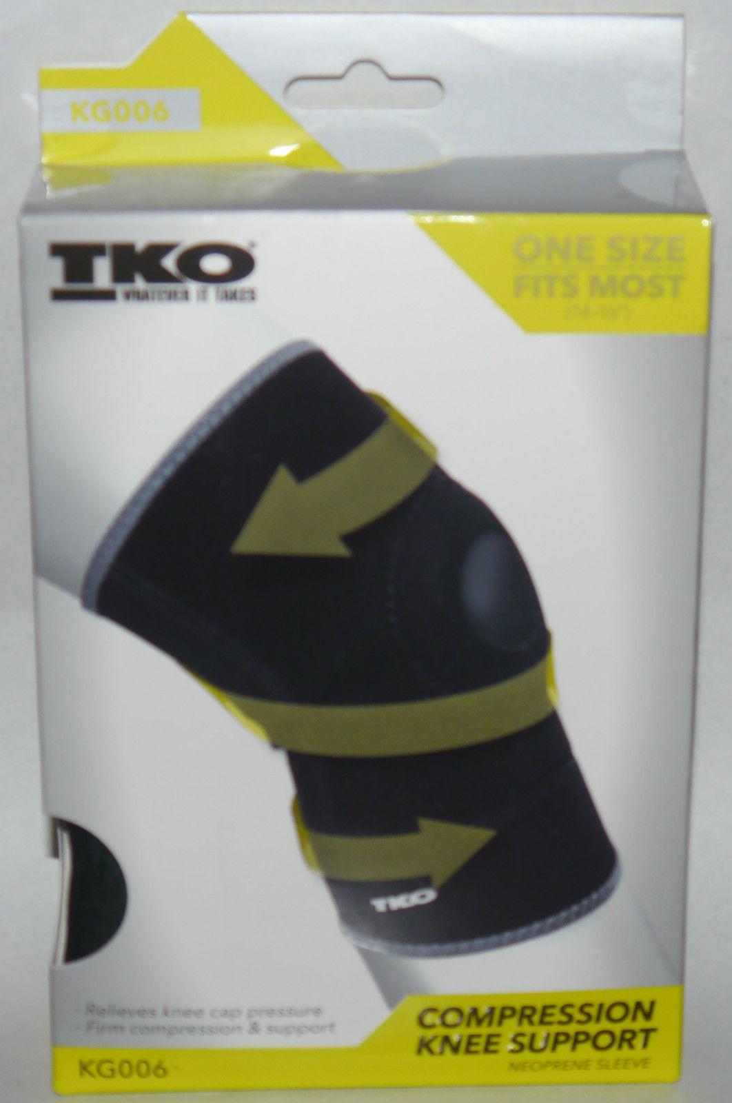 TKO Unisex Black/Gray Compression Knee Brace Neoprene Sleeve KG006 (One Size) 12634