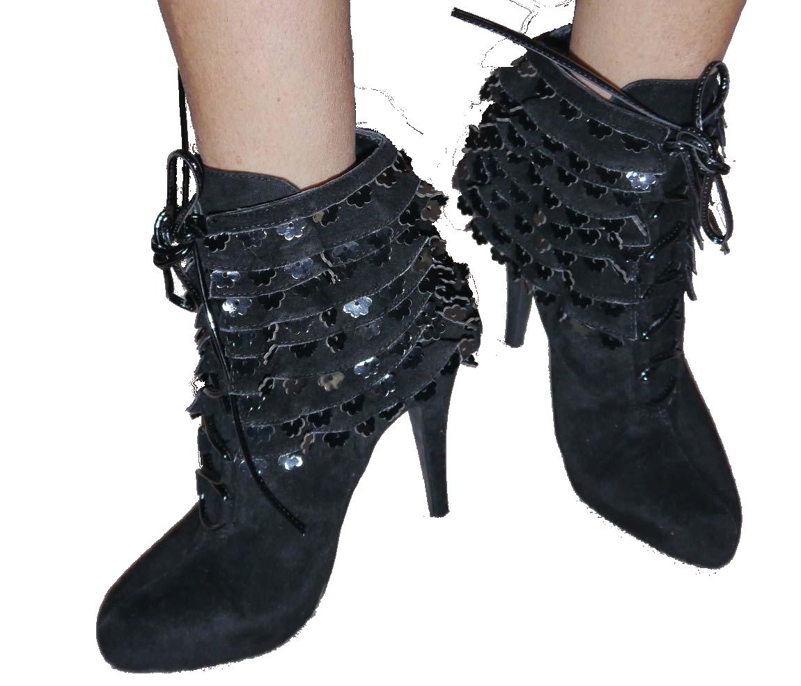 Colin Stuart FRILLS BOOTIE Black Lace Up Ankle Boots