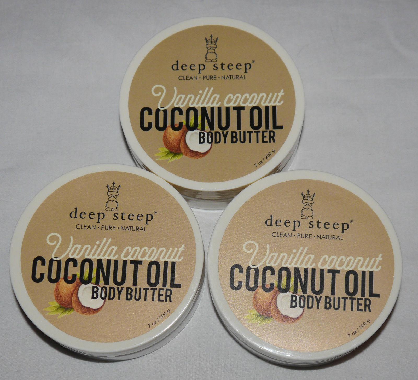 Lot Of 3 Deep Steep COCONUT OIL Vanilla Coconut Body Butter 7 oz Each 12641