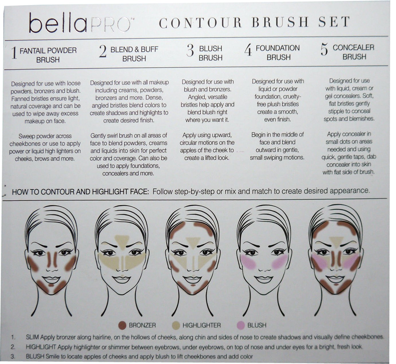 Bella Pro Signature Five Silver Contour Brush Set