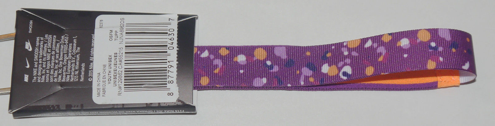 Nike Youth Girl's JDI Ribbon JUST DO IT Purple/Orange Polka Dot Headband