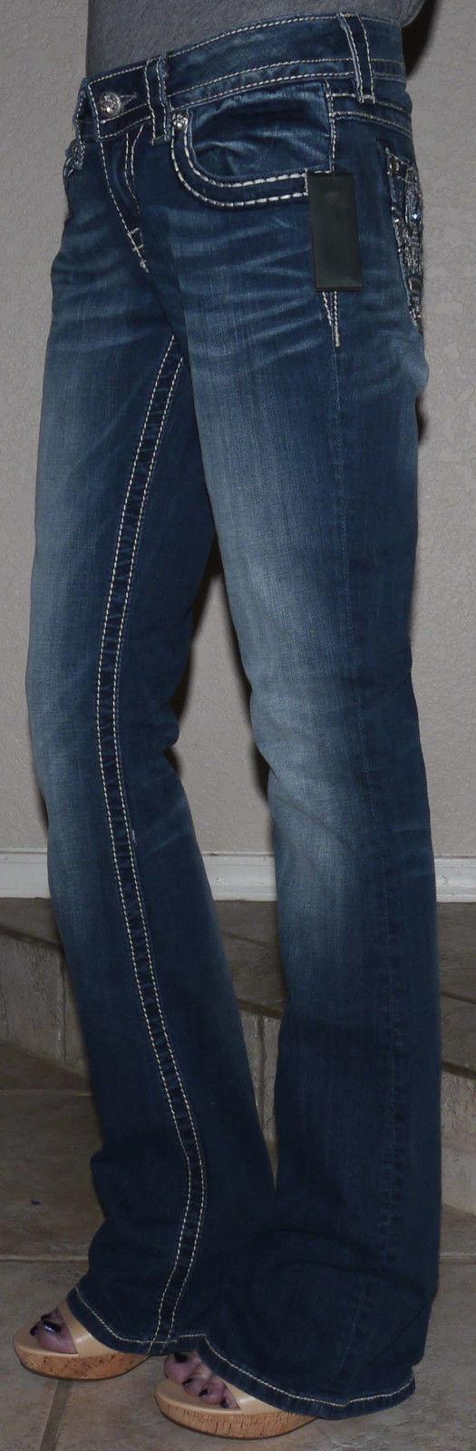 Miss Me Women's Knight Armor Fleur De Lis Boot Cut Jeans  (Several Sizes) 12770