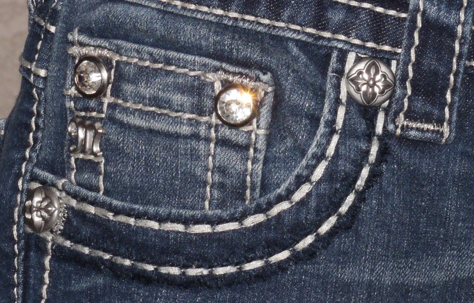 Miss Me Women's Knight Armor Fleur De Lis Boot Cut Jeans  (Several Sizes)
