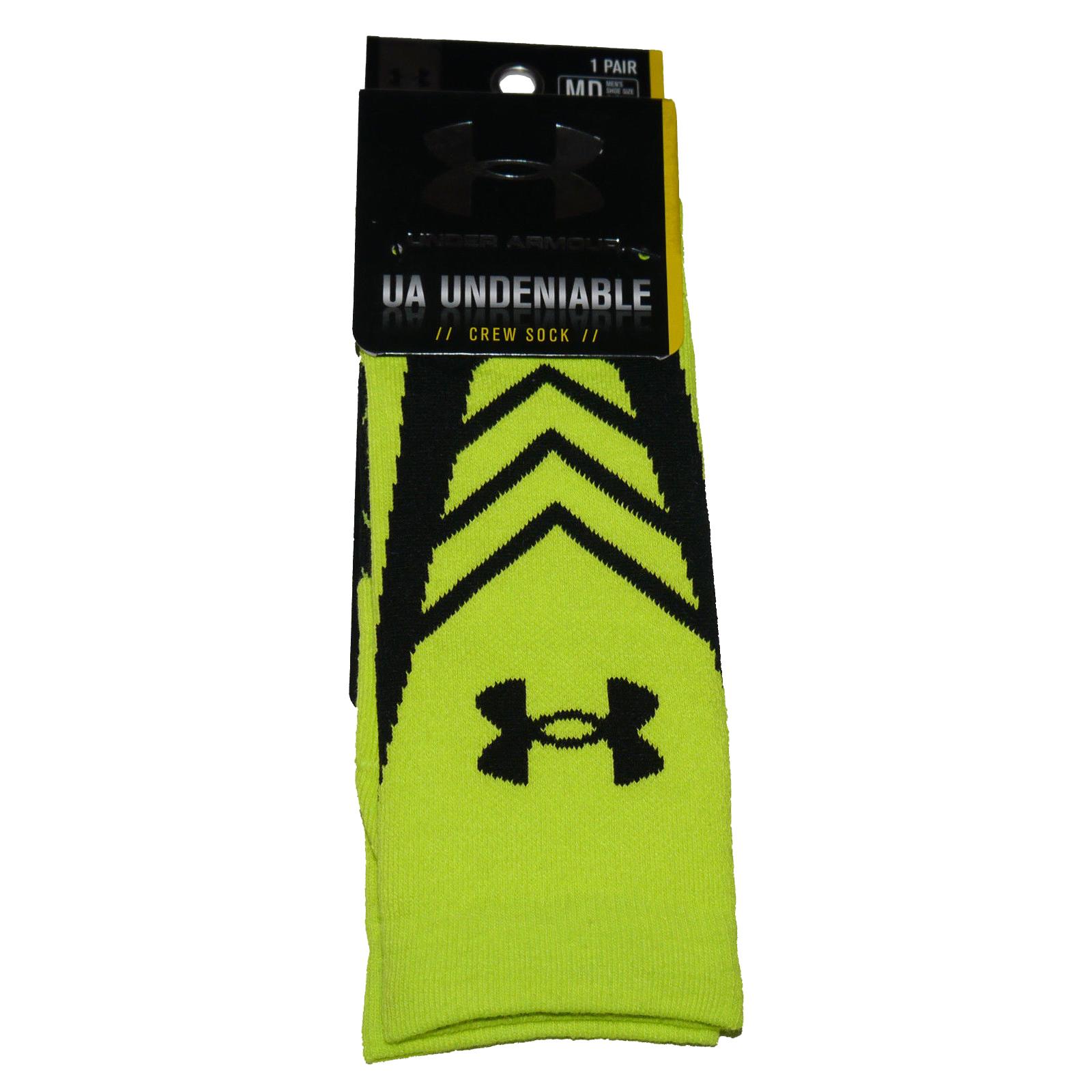 1 Pair Under Armour UA UNDENIABLE Men's Crew Socks  -High Vis Yellow and Black (Medium) 13055