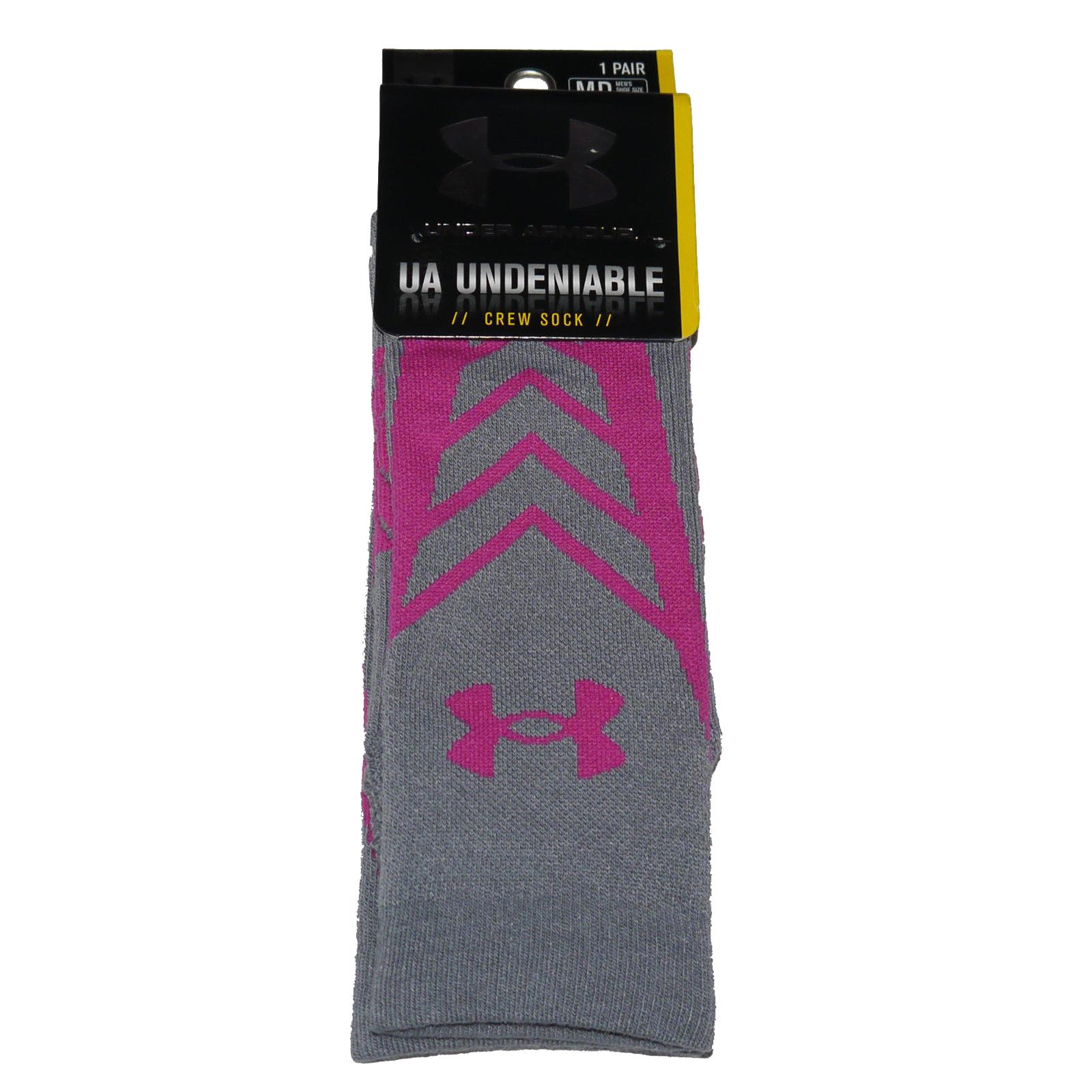 1 Pair Under Armour UA UNDENIABLE Men's Crew Socks  -Stealth Gray & Tropic Pink (Medium) 13060