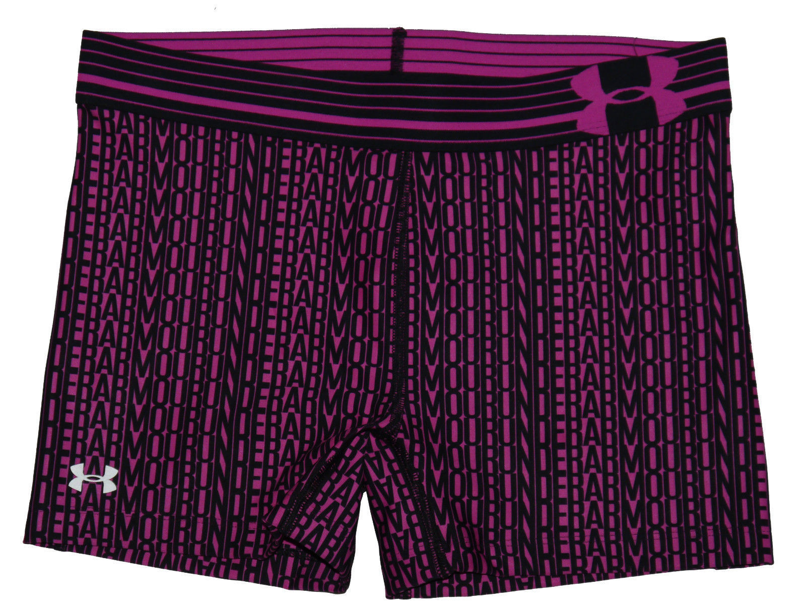 "Under Armour Women's Black/Rebel Pink UA 3"" Shorty Compression Shorts (Small) 13269"