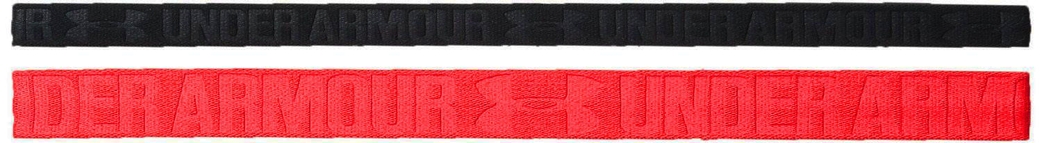 2 Pack Under Armour Women's Rocket Red/Black Embossed Headbands 13604