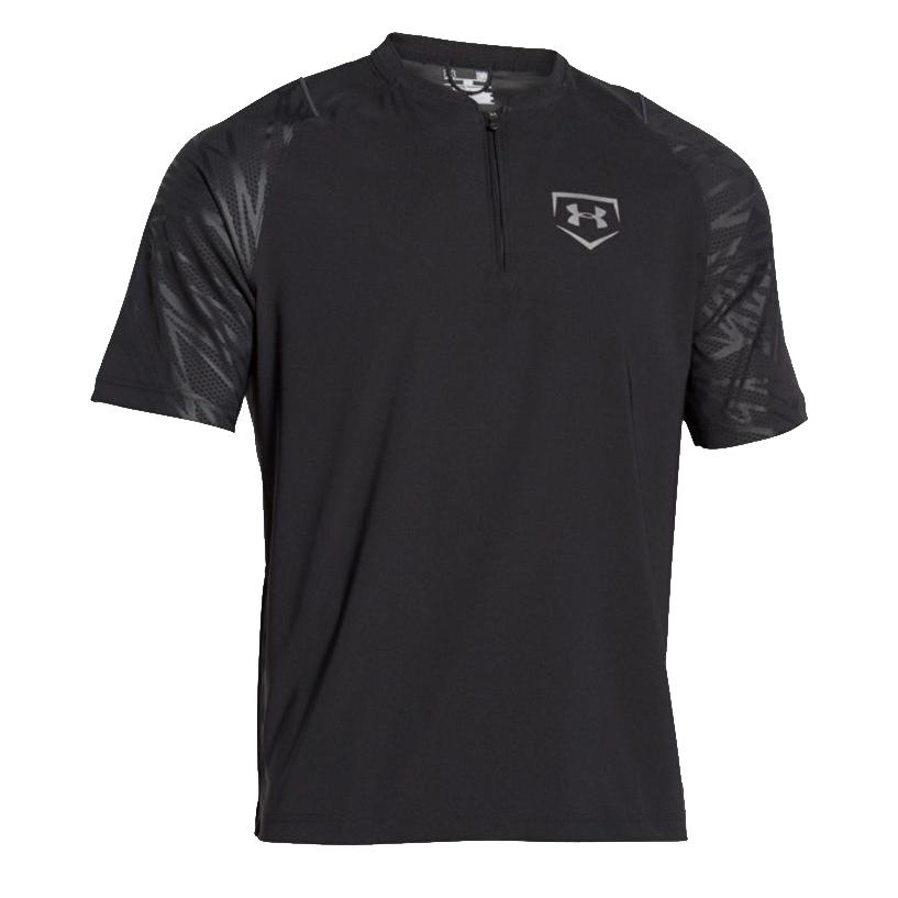 Under Armour Baseball Men's Black/Silver Metallic UA ¼ Zip Shirt (Several Sizes) 13711
