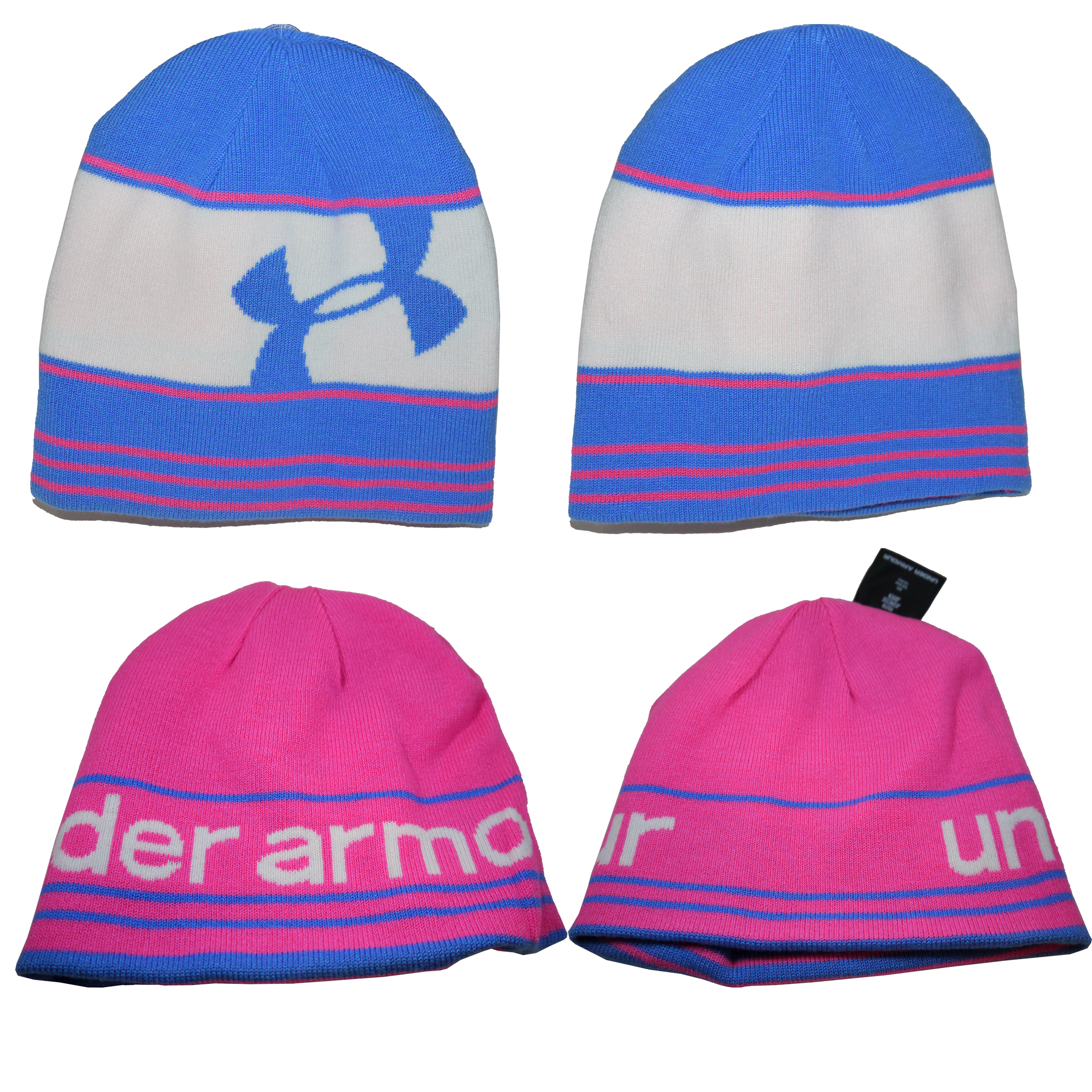 Under Armour Girl's Switch It Up II Blue/White/Pink Reversible Beanie Hat 14006