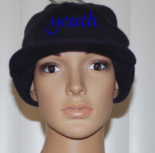 Nike YOUTH Boy/'s Obsidian//White Swoosh Beanie Visor Sz 8//20 **