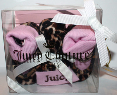 Juicy Couture Baby Girl Leopard Print Hat & Bootie Socks Set (Sz 0-9 Months)