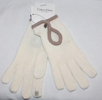 Calvin Klein Women's Wool Blend Text Enabled Gloves -Cream (One Size)