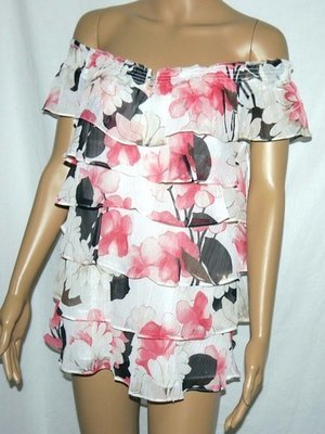 White House Black Market Women's Layered Ruffle Floral Lined Top Shirt (Small)