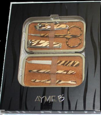 6 pc. AYMIE B' Animal Print Manicure Kit -Tiger Print