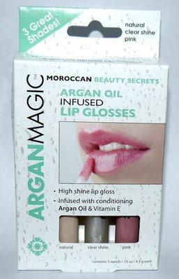 3 PK ARGAN MAGIC Argan Oil Infused Lip Gloss .15 oz each