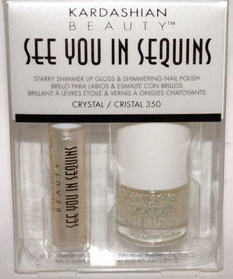 KARDASHIAN SEE YOU IN SEQUINS Lip Gloss CRYSTAL & Nail Polish #350 CRISTAL Set