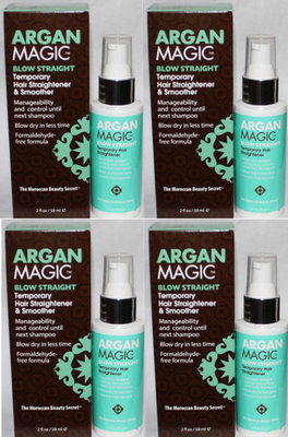 Lot 4 ARGAN MAGIC BLOW STRAIGHT Temporary Hair Straightener & Smoother 2 oz Each