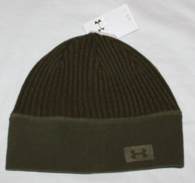 Under Armour Women's Olive Green Ribbed/Fleece Beanie Hat (One Size)