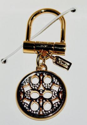 Coach SIGNATURE C Pave Gold Tone Crystal Embellished Keychain F61900