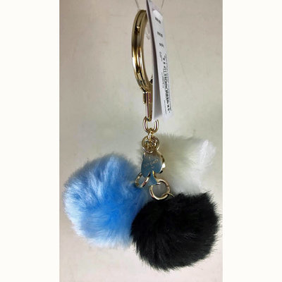 Kate Spade New York Black/White/Blue Triple Pom Pom Keychain