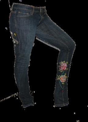 Ed Hardy LOVE KILLS SLOWLY Heart Skull Roses Denim Skinny Jeans (Size 27) *Reduced*