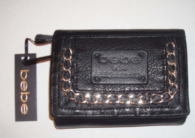 Bebe Women's Black Leather Chain Braided Wallet
