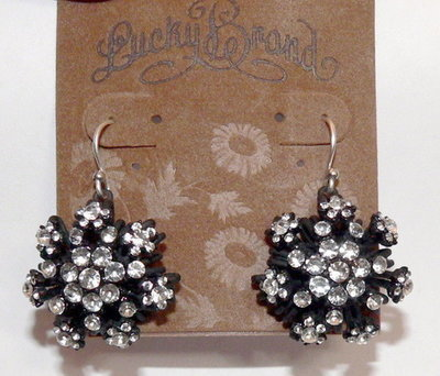 Lucky Brand Womens Black Snowflake Crystal Earrings