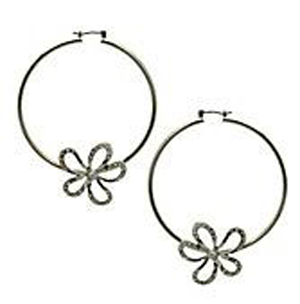GUESS Women's Earrings, Crystal Flower Hoops