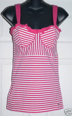 Hollister Women's Junior Magenta & White Shirt (Medium) *Reduced*