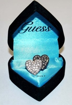 GUESS Women's Double Heart Crystal Ring (Size 7)
