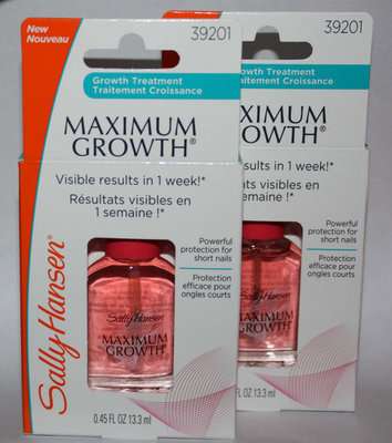 Lot Of 2 Sally Hansen MAXIMUM GROWTH Nail Treatment #39201 .45 oz Each