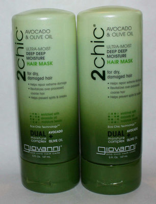 Lot Of 2 Giovanni 2 Chic Avocado & Olive Oil Ultra-Moisture Hair Mask 5 oz Each