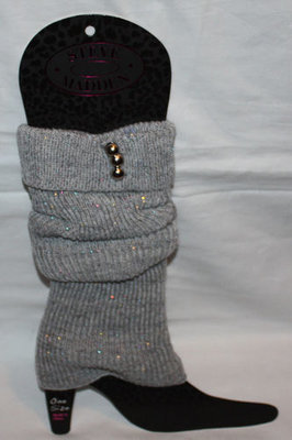 Steve Madden Women's Gray/Metallic Accents Knit Leg Warmers Boot Toppers (One Size)