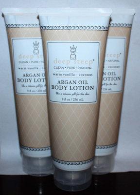 Lot Of 3 Deep Steep ARGAN OIL Body Lotion With Warm Vanilla & Coconut 8 oz Each