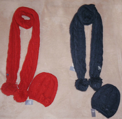 Abercrombie & Fitch Heritage Knit Scarf & Cozy Winter Hat Set