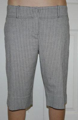 White House Black Market Women's Black & White Diamond Bermuda Shorts (Size 8)