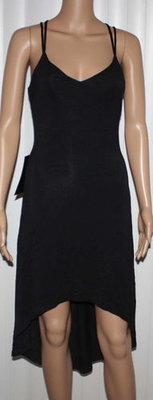 Bebe Women's High Low Crisscross Open Back Dress -Black (Small)
