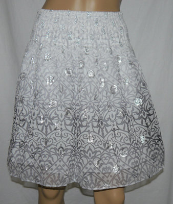 White House Black Market Flirty Silk Blend Lined Abstract Skirt (X-Small)