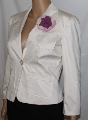 Bebe LUCIA Women's Cream Semi-Sateen Finish Lined Blazer Jacket (Size 4)